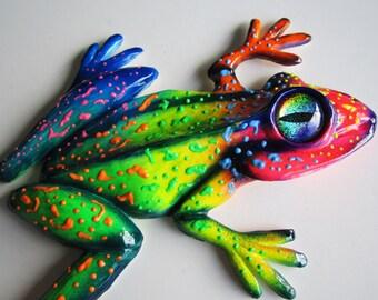 Frog sculpture-art object-home wall decor-frog figurine