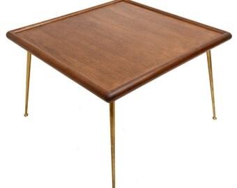 T H Robsjohn Gibbings Table Brass Legs