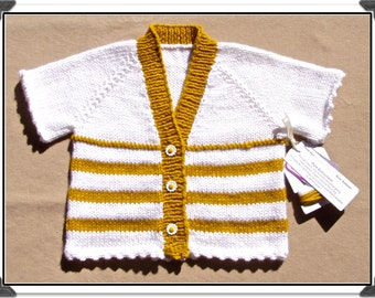 "Hand-knit Girls' ""Cute As a Button"" Gold & White V-Neck Short-sleeved CARDIGAN SWEATER w/Flower Buttons - Sz Small - Easy-Care Acrylic"