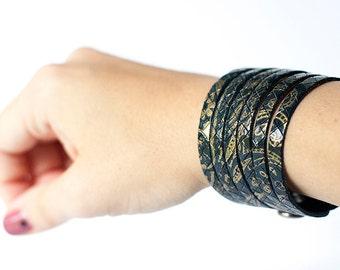 Leather Bracelet / Original Sliced Cuff / Victorian