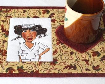 Nurse Mug Rug, Quilted Snack Mat, Fall Mug Rug, Autumn Leaves, Gift for Nurse, Quiltsy Handmade