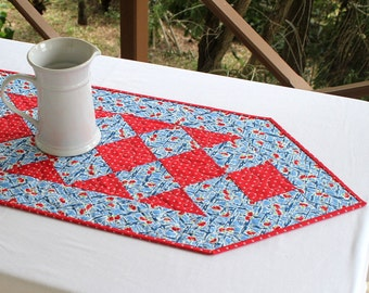 Summer Table Runner Quilted, Blue Red, Table Topper, Floral Table Quilt, Quiltsy Handmade