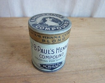 1920s Unopened Advertising B Pauls Henna Tin ~ Industrial Home Decor Bathroom Canisters, Unique Housewarming Gifts, Blue Shabby Chic Style