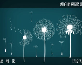 Dandelions Photoshop brushes, Dandelions transparent PNG files, Dandelions Clip Art, Dandelion Digital Stamps for Scrapbooking