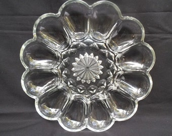 Beautiful Pressed Glass Server in Fluted Diamond Pattern