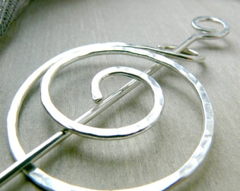 Sterling Silver Shawl Pin - Celtic Cloak Pin - Silver Brooch - Kilt Pin - Scarf Pin - Gifts for Her - Gift for Women - Mothers Day