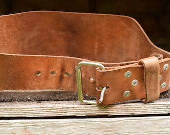 Vintage Leather Weight Training Belt, Wide Belt by Weider, Body Building Belt