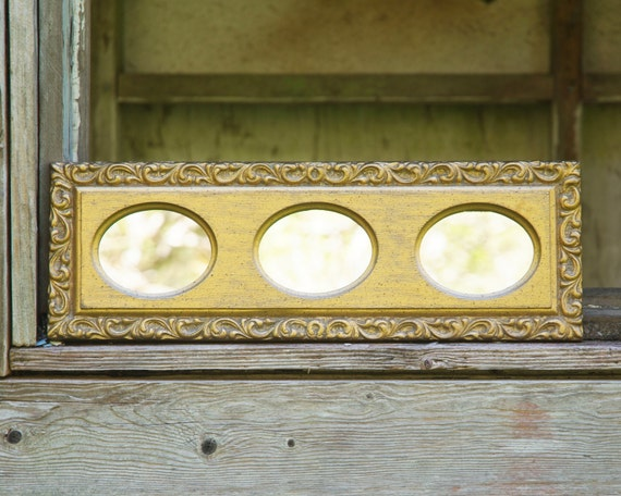 Vintage gold framed mirror three small oval mirrors in gold for Small gold framed mirrors