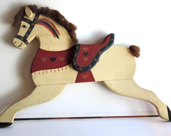 Vintage American Folk Art, Painted Wooden Hobby Horse,Home Decor,Wall Hanging,Farm Animals,Farm House, Nursery