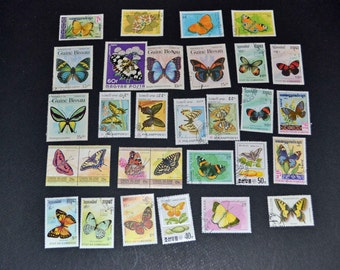 50 Butterfly stamps from around the world Some Mint B64