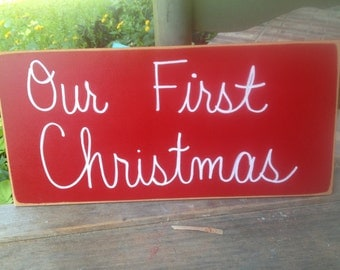 Red and White Our First Christmas Photo Prop Sign, Christmas Photography Sign Props