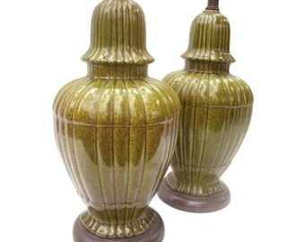 Hollywood Regency Ginger Jar Green Lamps A Pair Ceramic Mid Century