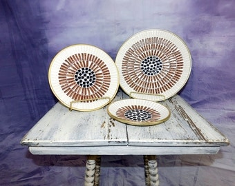 Vintage Mid Century Modern brass and mosaic plates . Set of 3 by
