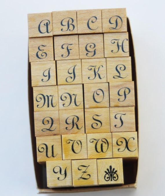 Alphabet script set rubber stamps by stampede pieces