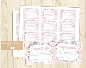 Pink Tutu Printable Diaper Raffle Tickets for Baby Shower INSTANT DOWNLOAD