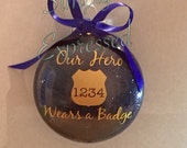 Our hero wears a badge Christmas ornament, personalized with badge number, Christmas ornament, glitter ornament