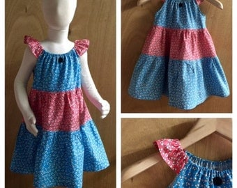 Cotton Flower Print Peasant Style Sundress, girls size 5