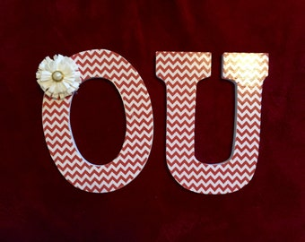 Chevron OU Block Letters with Flower