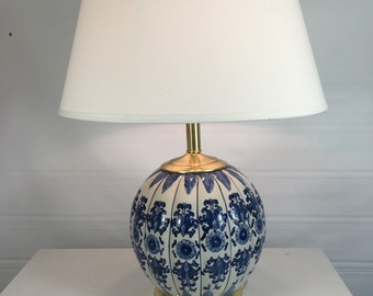 Ginger jar lamp - blue & white porcelain with solid brass hardware
