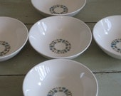 """ON SALE!  five hard to find 6"""" cereal bowls temporama canonsburg 1960s atomic"""