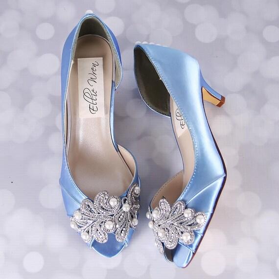 Blue Wedding Shoes -- Cornflower Blue Peep Toe Wedding Shoe with Hand Made Rhinestone and Pearl Applique