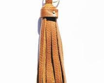 Handmade Light Brown Leather Tassel Keychain
