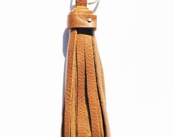 Handmade Light Brown Leather Tassel Keychain