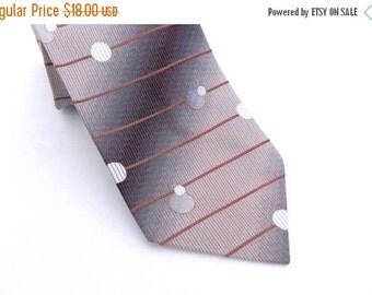ON SALE Roper Vintage Mens Silk Necktie, Brown, Tan, Cream, and Bronze