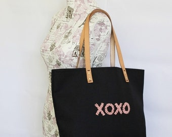 """Canvas Tote...""""XOXO""""  Petite Black tote bag with PERSONALIZED leather label"""