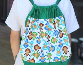Library Bag Backpack Drawstring Monkey Urban Zoology Boy Toy Sports Overnight Bag Gift - Back to School