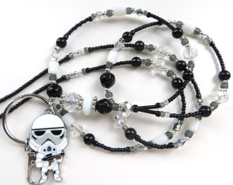 STORMTROOPER- Beaded ID Lanyard Badge Holder- Glass Pearls, Cat's Eye Beads, Sparkling Crystals and Silver Beads & Spacers (Magnetic Clasp)