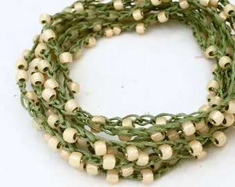 Beaded crochet triple wrap necklace or bracelet Japanese toho glass beads GREEN