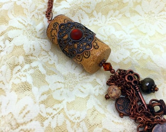 Wine Cork Pendant   Rustic  Wine   Cork Pendant   Cork Jewelry   Item 888