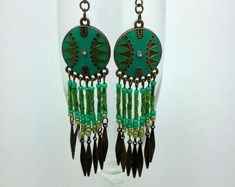 Southwestern Beaded Earrings  Dangle Earrings  Native American Earrings   Boho Earrimgs    item 1569