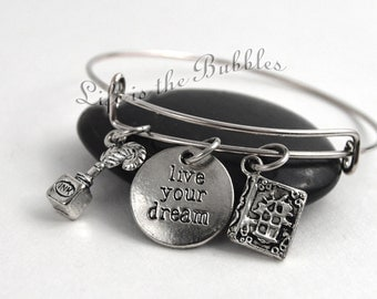 Gift for Writers, Live Your Dream Bangle Bracelet, Live Your Dream Charm, Ink & Pen Charm and Book Charm, by Life is the Bubbles