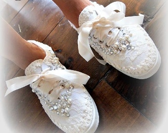 Wedding Bridal Sneakers Tennis Shoes - chic ivory or white lace - Rhinestone Pearls - eyelet trim - Shabby vintage inspired - alternative