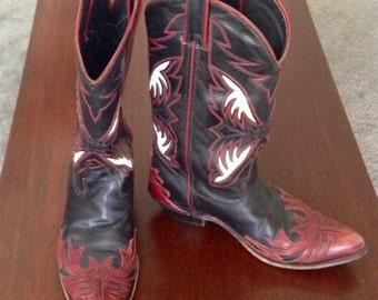 Vintage Women's 1980s Cowboy Cowgirl boots red black white 8.5