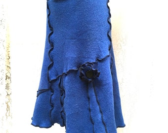 Wool Sweater Skirt, Up Cycycled Sweaters, Recycled Clothing, Women Large XL Skirt, Cobalt Blue and Black, #SK376