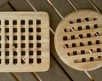 Vintage Set of (2) Handmade Wooden Round & Square Lattice Trivets FREE SHIPPING