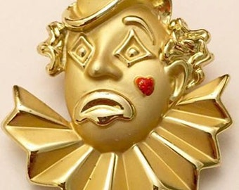 Vintage Clown Brooch by AJC