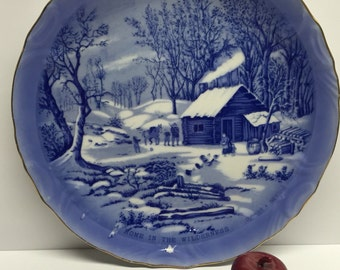 Currier and Ives Home in the Wilderness  Collector Plate 8 inch