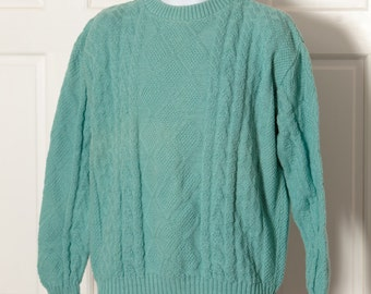 Vintage 90s Texture Diamond Sweater - CHECKPOINT - seafoam blue green - L