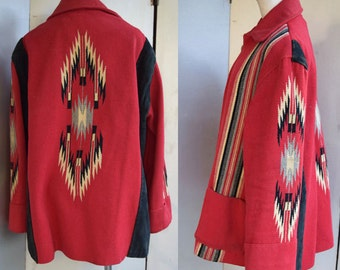 1930s - 1950s SUEDE LEATHER CHIMAYO red wool coat