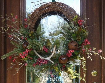 Grapevine Christmas Wreath with ANTLER and JINGLE BELLS
