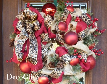 Natural Jute BURLAP, LEOPARD and BERRIES Christmas Wreath