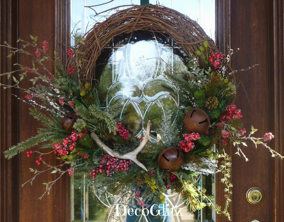 Grapevine christmas wreath with antler and jingle by decoglitz for Antler christmas wreath