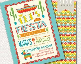 Fiesta Birthday Invitation, Taco Party, Mexican Taco Fiesta Invite Printable, Cinco de Mayo Party