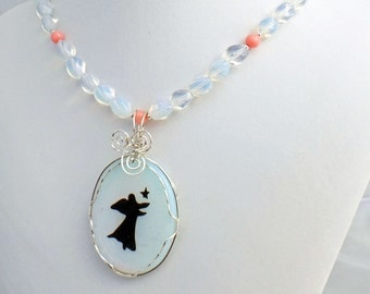 Opalite Angel Coral Natural Stone Pendant Necklace