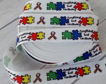 """3 Yards- 7/8"""" Autism Awareness Grosgrain Ribbon-3 Yards"""