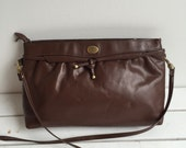 Vintage 80's Etienne Aigner Purse / Chocolate Brown Leather Shoulder Bag